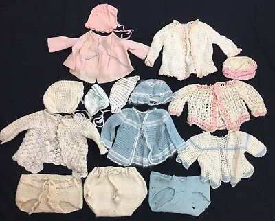 Vintage Hand Crochet Baby Sweaters, Bonnets, Diaper Covers Lot of 15 Damaged