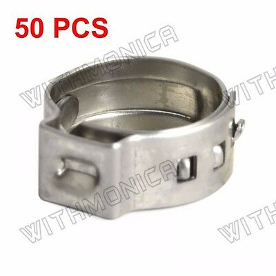 "50pcs 3/8"" PEX Stainless Steel Clamp Cinch Ring Crimp Pinch Fitting"