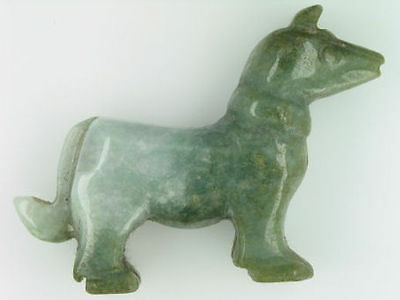 Stunning Dog Carved from Natural Jade