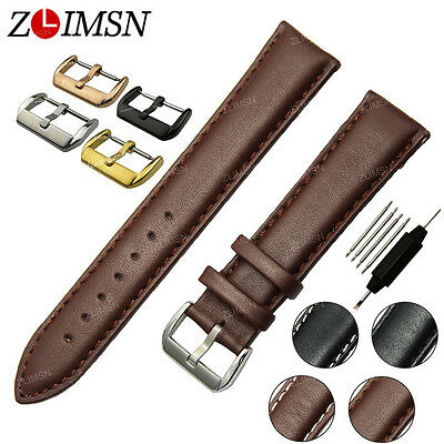 Smooth Genuine Leather Watch Band Strap S/Steel Buckle Black Brown Big Promotion