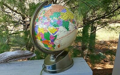 Desktop 8 inch World Lighted Rotating Parchment Colored Globe