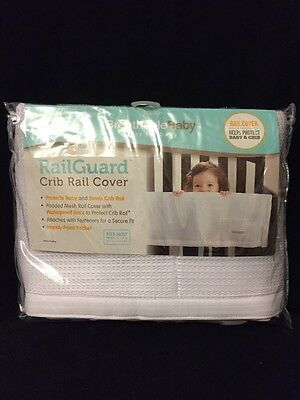 Breathable Baby Railguard Crib Rail Cover, White, New, Free Shipping