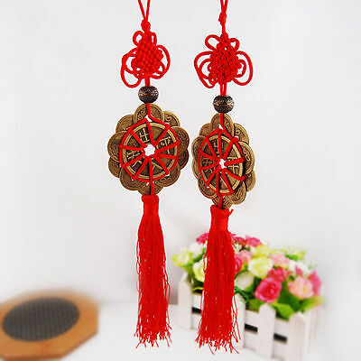 New Feng Shui Fortune Coin Tassel RED Hanging Peace Chinese Knot Car Decoration