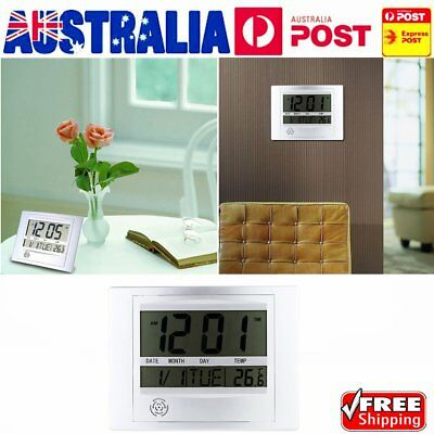 Hot Self Setting Digital LCD Home Office Decor Wall Clock Indoor Temperature HF