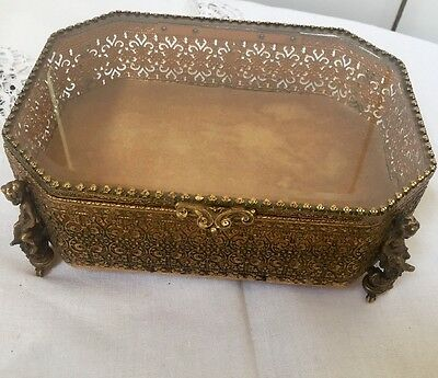 Jewelry Box Trinket  With Cherubs Ormolu Amber Beveled Glass  Large Antique