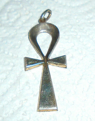 """Vintage Large 800 Silver Egyptian """"Ankh"""" Pendant Excellent Condition Free Ship"""