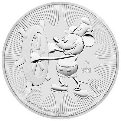 2017 Niue $2 Disney Mickey Mouse - Steamboat Willie 1 oz .999 Silver BU Coin