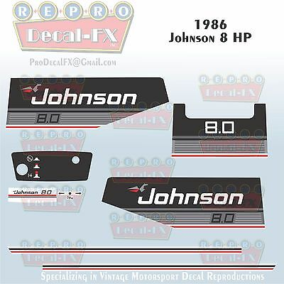 1985 Johnson 50 HP Sea-Horse Outboard Reproduction 11 Piece Marine Vinyl Decals