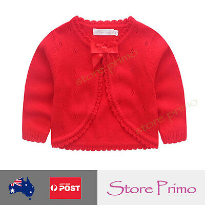 New Baby Flower Girls Bolero Cardigan Knitted Red Jacket Bow 0 1 2 4 5 8 10 12..