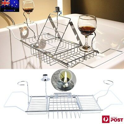 NEW Stainless Steel Bath Caddy Wine Glass Holder Tray Over Bath Tub Book Support