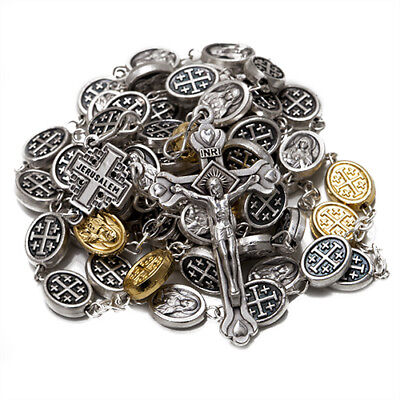 Rosary with Silver-Plated Beads and Crucifix w/ Jerusalem Cross Holy Land 23""