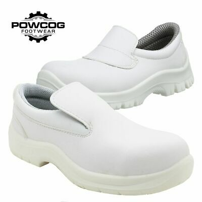 Unisex White Hygiene Food Industry Medical Slip-On Safety Shoe Steel Toe S2