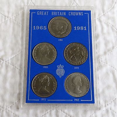 1965 - 1981 GREAT BRITAIN 5 CROWN COLLECTION - cased