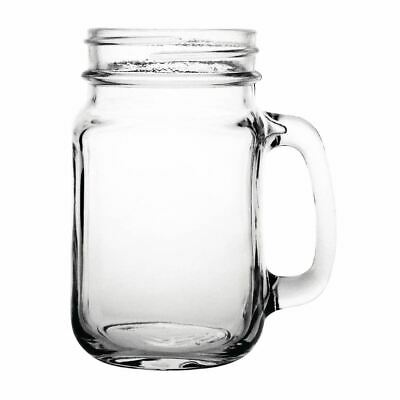 12x Olympia Handled Jam Jar Glasses 16oz 450ml Cocktail Beer Drinking Mugs