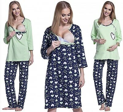 Happy Mama. Women's Maternity Hearts Print Nightie/Pyjamas SOLD SEPARATELY. 568p