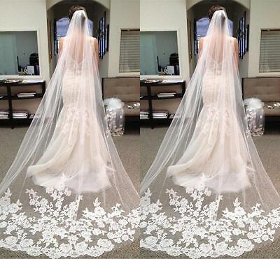 White Cathedral Length Lace Edge Bride Wedding Bridal Long Veil with Comb