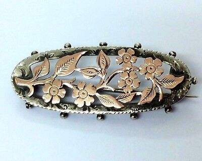 Antique Silver & Rose Gold Flower Sweetheart Brooch Pin