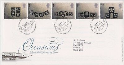 Merry Hill Gb Royal Mail Fdc First Day Cover 2001 Occasions Hallmarks Stamp Set