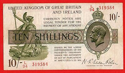 UNITED KINGDOM OF GREAT BRITAIN AND IRELAND 1922  TEN 10/ SHILLINGS  Banknote
