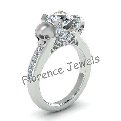 Skull Design Ladies Special Engagement Round Cut White Stone 925 Silver Ring