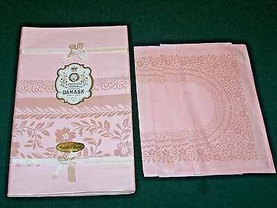Vintage Double Damask Linen Tablecloth, 4 Napkins, Pink,original Tag, Never Used