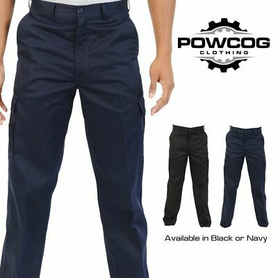 "Mens Cargo Combat Work Wear Trousers | BLACK or NAVY | Fits Waist 28"" - 52"""