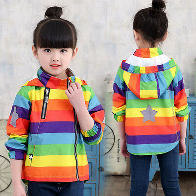 New Kids Baby Girls Hooded Clothes Tracksuit Striped Jacket Waterproof Outerwear