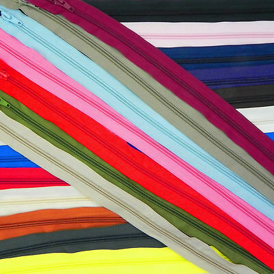 22 Colours 14 Sizes ❋ Spiral Coil Zips Nylon Open Ended Zippers ❋ Made in Europe