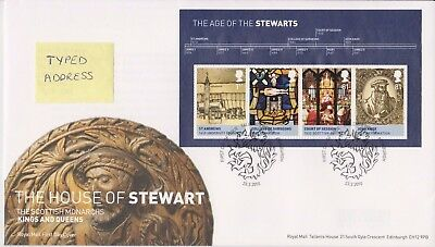 Tallents Pmk Gb Royal Mail Fdc 2010 House Age Of The Stewarts Miniature Sheet