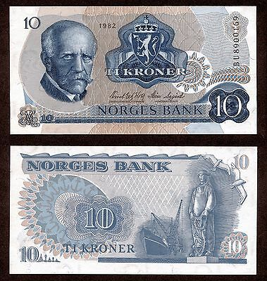 NORWAY NORWEGEN 10 Kroner 1982 Pick # 36c UNC