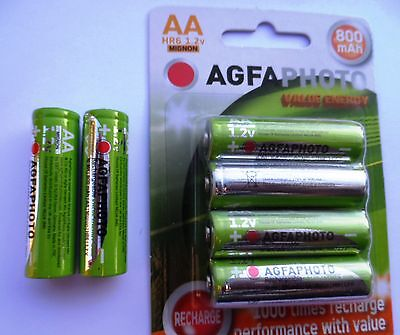 6 x AA SOLAR GARDEN LIGHT AGFA RECHARGEABLE BATTERIES 1.2v 800mAh