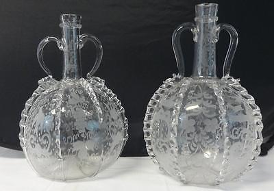 Gorgeous Antique Pair of Blown Fancy Glass Bottles Applied Handles & Ribs WOW!