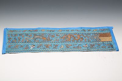 Antique Chinese Qing Dynasty Silk Embroidered Sash from Robe Dragon Butterfly
