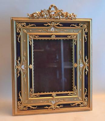 20th Century French Bronze Enamel Mother of Pearl Fancy Large Picture Frame