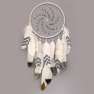 Ricdecor Handmade Indian Real Feathers Dream Catcher Wall Hanging Car Hanging