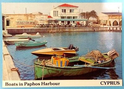Cyprus postcard: Boats in Paphos Harbour, unposted.
