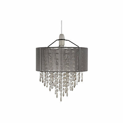 Grey Decorative Crystal Ceiling Pendant Lamp Shade Light Lighting Home Decor