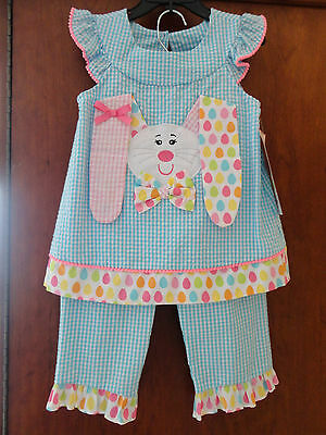 NWT Rare Editions' 2 pc. EASTER/SPRING FLOPPY EARED BUNNY dresses/pants 4,5,6,6X