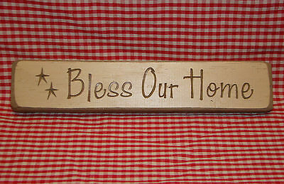 "Rustic Primitive Country Wood sign engraved words ""BLESS OUR HOME"" home decor"