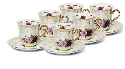 Euro Porcelain Roses Miniature Espresso Coffee Cup Set For 6 24k Gold