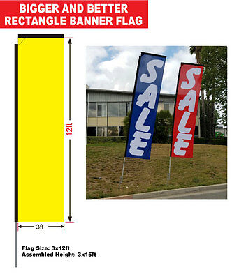 Auto Detail blue 15' Advertising Rectangle Banner Flag w/ pole+spike swooper
