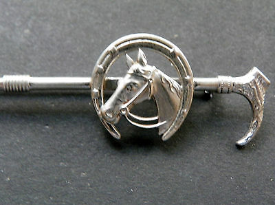Crop Horseshoe and Horse Head on Riding Crop Sterling Silver Pin Brooch