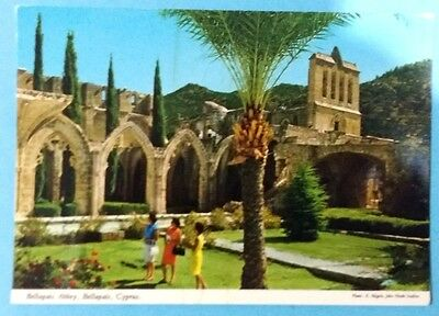 Cyprus postcard: Bellapais Abbey, before 1974, by John Hinde, unposted.