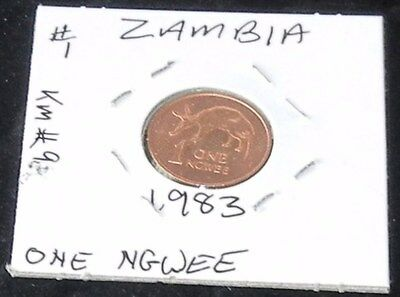NICE SHINY TWO COIN SET ~ TWO 1983 Zambia 1 NGWEE (KM# 9)  Pieces