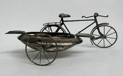 Figural Antique Sterling Silver Mexico Bicycle With Open Side Cart Ash Tray