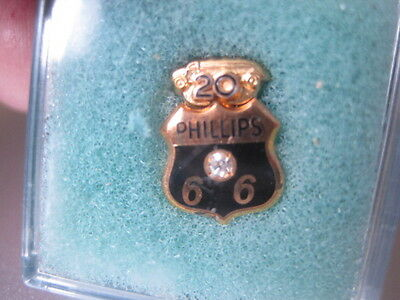 Vintage Nos Phillips 66 Gas/oil Diamond +10K Solid Gold 20 Year Pin Tanker Truck