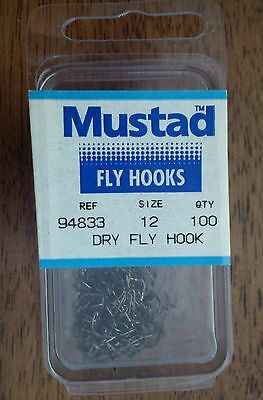 Mustad 94833, Size 12, Package of 100, Vintage Fly Tying Hooks