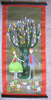 The Happy couple vintage linen wall hanging 1960's 1970's