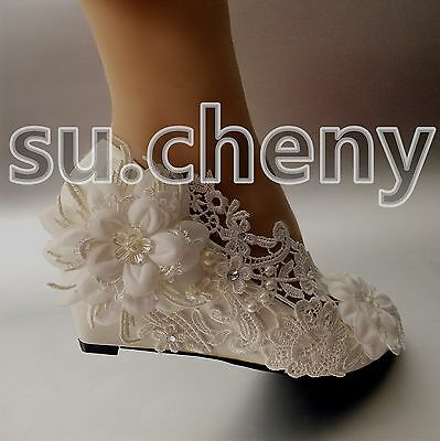"2"" wedge heel white light ivory pearl crystal lace Wedding shoes bride size 5-12"