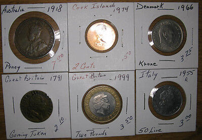Lot,6 Foreign/World Coins 1791-1999,Fine+ to BU